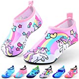Sunnywoo Water Shoes for Kids Girls Boys,Toddler Kids Swim Water Shoes Quick Dry Non-Slip Water Skin Barefoot Sports Shoes Aqua Socks for Beach Outdoor Sports,7-8.5 Toddler,Unicorn-a