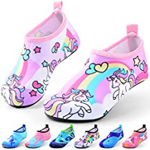 Sunnywoo Water Shoes for Kids Girls Boys,Toddler Kids Swim Water Shoes Quick Dry Non-Slip Water Skin Barefoot Sports Shoes AquaSocks for Beach Outdoor Sports,9-10.5 Little Kid,Unicorn-a