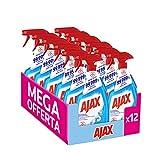 AJAX Spray Disinfettante Multiuso Multi-Superficie, Elimina Fino Al 99,999% Di Batteri, Muffe E Lieviti, 12 x 750 ml