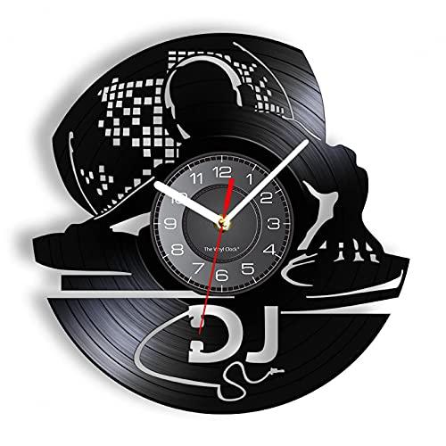 KDBWYC DJ música Disco de Vinilo Reloj Registro Rock Reproductor en Vivo Mezclador álbum Colgante de Pared Escena Nocturna Sacudida Alto Club Radio Audio Manualidades
