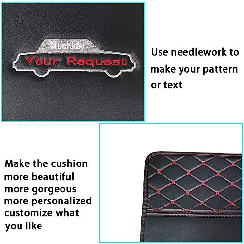 Muchkey Car Floor mat- Customize The Picture - Customized for Your Personal Model - Heavy Duty Leather Car Mat Non-Slip Waterproof Black Red