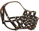 Piel Auténtica Jaula Basket Secure Bozal para perro–Gran danés, San Bernardo, longitud de morro de Mastiff (Circunferencia 18,5', 4.7)