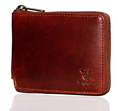 MATADOR Herren Geldbörse Portemonnaie Leder RFID & NFC Schutz Vintage Braun