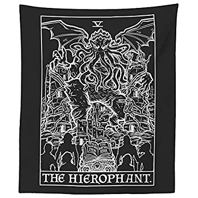 "The Hierophant Tarot Card Tapestry (Black & White) - Cthulhu - Vintage Horror Home Decor Wall Hanging (60"" x 50"")"