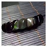 WSJKL Classic Natural AAA Rainbow Eye Ojo de Piedra Black Obsidian Bracelets Fina Cervía S Forma Hand Fila Joyería Amuleto Pulseras