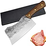 Home Safety Macheta de Cocina - Cuchillo de Carnicero Huesos 18.5cm - Cuchillos de cuchilla de carne forjada a mano, Hacha de Carnicero Cuchilla Engrosada para Cortar Huesos