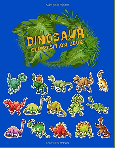 Dinosaur Composition Notebook: Primary Story Journal notebook, For Grades K-2 School Exercise Book, Wide Blank Lined Workbook for Teens Kids Students ... Sizee: 8.sx11 Inches 100 Pages (JURASIC)