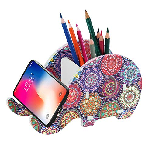 Hennaja Desk Supplies Organizer, Creative Elephant Pencil Holder With Phone Holder Desk Organizer Desktop Pen Pencil Mobile Phone Bracket Stand Storage Box Organizer(1 Pack,1-Hexagon Bohemia)