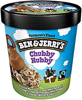 Ben & Jerry's - Vermont's Finest Ice Cream, Non-GMO - Fairtrade - Cage-Free Eggs - Caring Dairy - Responsibly Sourced Packaging, Chubby Hubby, Pint (8 Count)
