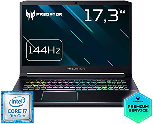 Predator Helios 300 (PH317-53-79Y1) 43,9 cm (17,3 Zoll Full-HD IPS 144 Hz) Gaming Laptop (Intel Core i7-9750H, 16 GB RAM, 512 GB PCIe SSD, NVIDIA GeForce RTX 2060, Win 10 Home) schwarz/blau