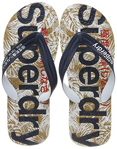 Superdry Herren Printed Cork Flip Flop Zehentrenner, Mehrfarbig (Salute Navy/High Risk Red/Cork W2q), 44-45 EU