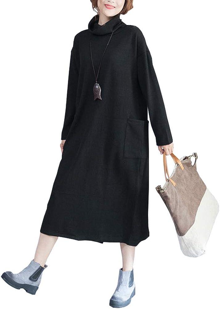 June Women's Long Sleeve High Neck Knit Dress with Pockets