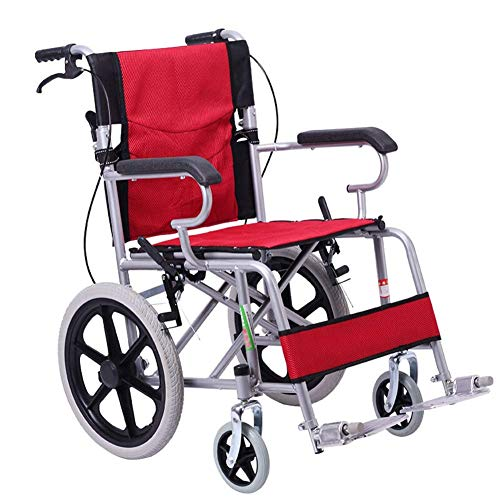 OSL Lightweight Expedition Folding Transport Wheelchair 11Kg Portable,48Cm Seat,Nursing Brakes and Two-Hand Brake fdg OSL/Red