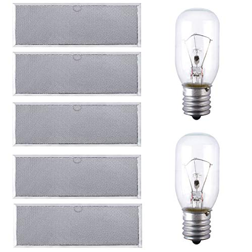 Podoy W10208631A Microwave Grease Filter Compatible with Whirlpool GE Replace W10208631RP AP5617368 PS3650910 (5 Pcs)and 8206232A E17 Base Light Bulb Replaces 1890433 8206232 AP4512653(2 Pcs)