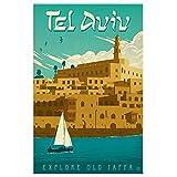 ZHJJD Tel Aviv Israel Explore Jaffa Vintage Travel Canvas Prints Paisaje Pintura Arte Poster de Viaje Decoracion para Salon de Estar Cuadros de Israel 60x80cm Sin Marco