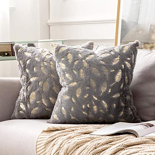 MIULEE Pack of 2 Faux Fur Feather Throw Pillow Cover Fluffy Soft Decorative Square Pillow covers Plush Case Faux Fur Cushion Covers for Livingroom Sofa Bedroom 18 x 18 Inches 45 x 45 cm Grey