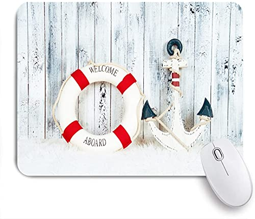 ZOMOY Gaming Mouse Pad Nautical Anchor Life Buoy Marine Style Vintage White Wooden Plank Board 9.5'x7.9' Nonslip Rubber Backing Mousepad for Notebooks Computers Mouse Mats
