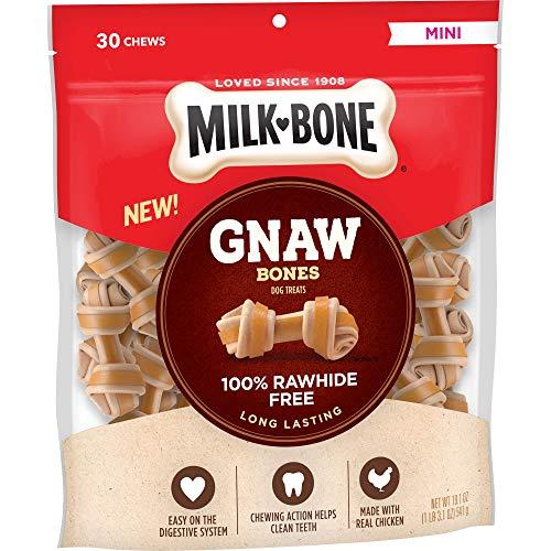 Milk-Bone Gnaw Bones Rawhide Free Chew Treats for Dogs, Chicken, 30 Mini Knotted Bones