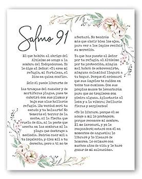 Salmo 91 En Espanol Wall Decor - Psalm 91 Cuadro - Christian Wall Decor In Spanish - 8x10 - Unframed