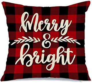 AENEY Christmas Plaid Pillow Cover 18x18 inch for Christmas Decor Merry and Bright Buffalo Check Throw Pillow Black and Red Buffalo Plaid Christmas Decorations Throw Pillow Cover