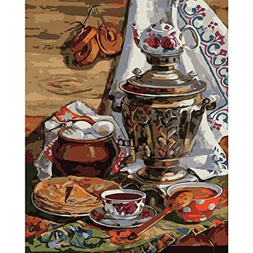 LvJin DIY Digital Painting Lebensmittelutensilien,Malen für Jugendliche,Leinwandbilder für Kinder,Zahlenmalerei für Erwachsene,Malen nach Zahlen,rahmenlose Schwarzweiß-Leinwand20*26In