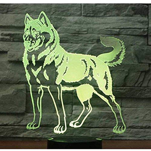 3D LED Symphony Light Nachtlicht Nachttischlampe Bunte Variation Kreatives Geschenk Esstisch Schreibtischdekoration - Animal Wolf Dog Schwarze Basis Berührungsschalter