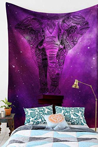 KHKJ Colgante de Pared Elefante Boho Mandala brujería Tela de Pared Arte psicodélico Hippie Tapiz Alfombra de Pared A14 95x73cm