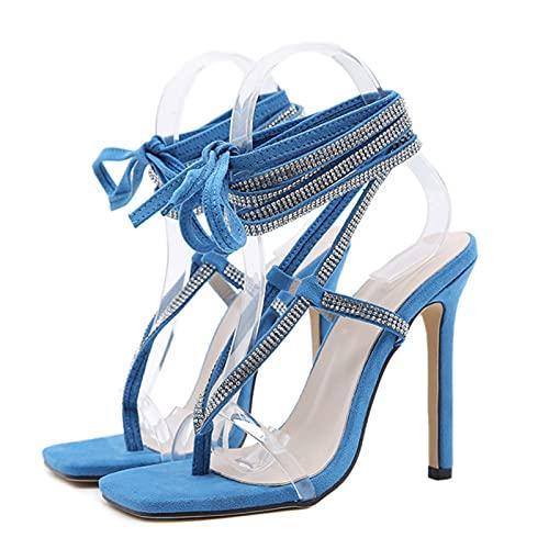 Hain Sandali con Tacco Alto da Gladiatore con Strass Sandali con Lacci da Donna con Tacco Alto Scarpe Sexy Sandali Infradito con Cinturino Incrociato Blu