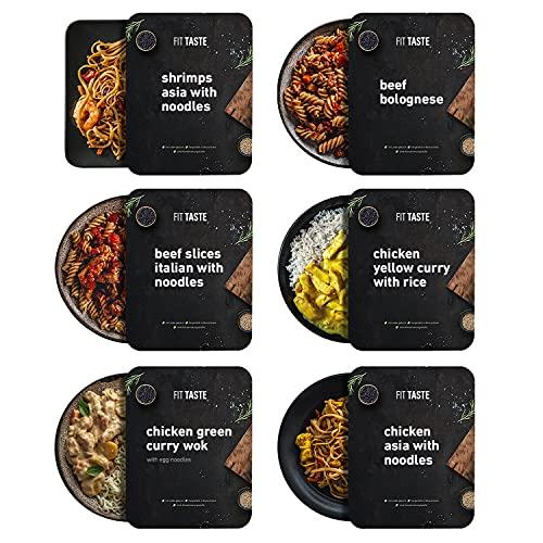 FITTASTE Muskelaufbau Box 6er I hochwertiges Fertiggericht für Fitness- und Figurbewusste I ideal als schnell zubereitete Mahlzeit / Fertig-Essen / Gericht im Home-Office