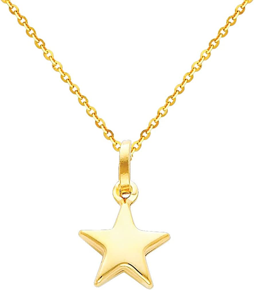 14k Yellow Gold Star Pendant with 1.2mm Cable Chain Necklace
