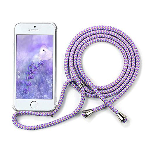 """YuhooTech Handykette Hülle für iPhone 5 / 5S / SE(2016)- 4,0\"""" Display, Smartphone Necklace Hülle mit Band - Handyhülle mit Kordel Umhängenband - Schnur mit Case zum umhängen in Violett"""