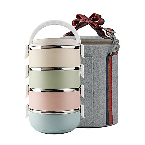 Yontree® Boîte Bento Boîte Repas Lunch Box Portable Acier INOX 4 Couches avec Sac