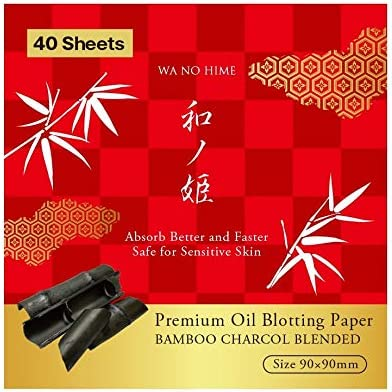 Premium Oil Blotting Papers 40 Sheets with Natural Bamboo Charcoal Made in JAPAN Handy Face product image