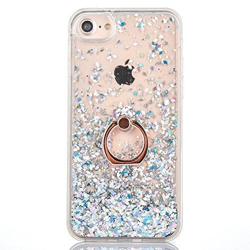 Mo-Beauty Kompatibel mit iPhone 6 Plus/ iPhone 6S Plus Hülle + Panzerglas Schutzfolie,Glitzer Flüssig Treibsand Glitter Gradient Quicksand Weich TPU Bumper Silikon Schutzhülle (Weiß)