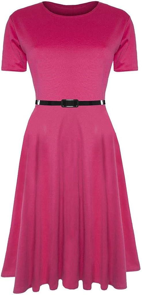 Emily Charm Women's Sweetheart Short-Sleeve Vintage 50s Scoop Neck Flare Dress