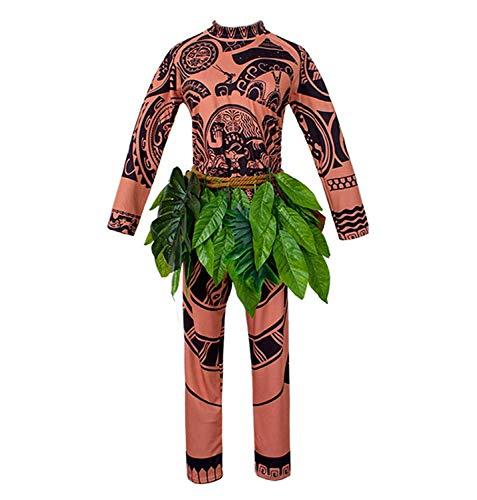 WEEOH Moana Maui Tattoo T-Shirt / Hose Halloween Cosplay Kostüm Maui Kostüm Erwachsene (M/L/XL/XXL), braun, Large