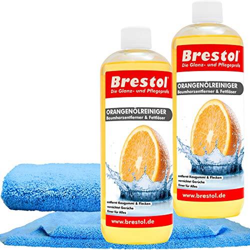 orangenölreiniger SET2 (2 x 1000 ml + Accessoires) (7398) – Nettoyant universel de graisse huile Chewing Gum Arbre Résine Dissolvant d'odeur propriétés de contrôle erter – Original brestol