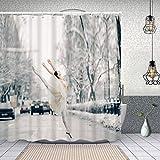 MAYUES Duschvorhang wasserdicht schöne Ballerina durchsichtigen Rock tanzen springen mit Haken, waschbare Bad Gardinen 62x72 inch