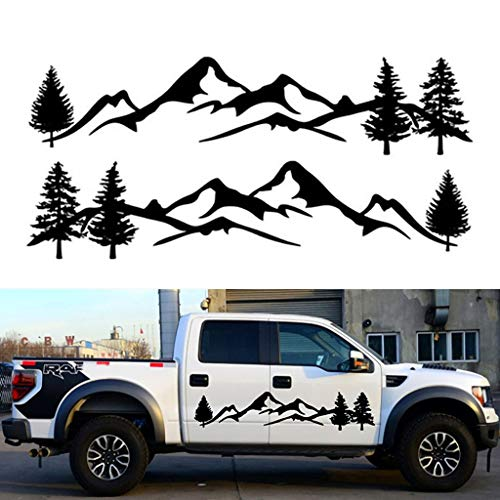 sundan 2Pcs Car Side Body Stickers Mountain Decals Tree Forest DIY Vinyl Graphic for Camper RV Trailer (A-Black)