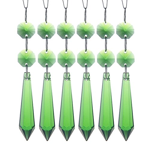 H&D 55mm Crystal Icicle Prisms Chandelier Drop Pendants Lamp Candelabra Parts, Pack of 10 (Green)