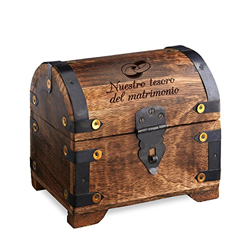 Casa Vivente Cofre de Madera Oscura con Grabado para Boda, Motivo Anillos, Nuestro Tesoro del Matrimonio, 14 X 11 X 13 cm