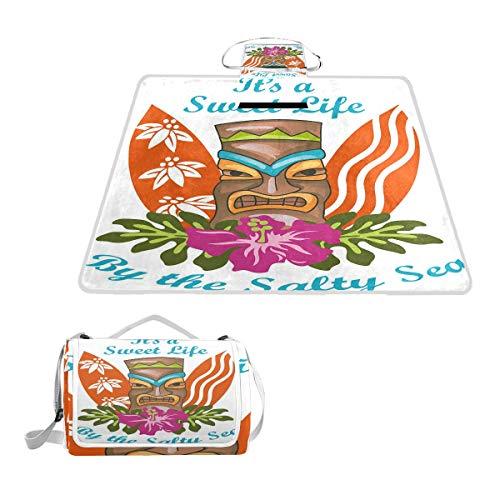 XINGAKA Picknickdecke,Süßes Leben durch das salzige Meer Text mit Tiki Figur und Hibiskusblume,Outdoor Stranddecke wasserdichte sanddichte tolle Picknick Matte