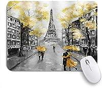 VAMIX マウスパッド 個性的 おしゃれ 柔軟 かわいい ゴム製裏面 ゲーミングマウスパッド PC ノートパソコン オフィス用 デスクマット 滑り止め 耐久性が良い おもしろいパターン (油絵パリヨーロッパの都市風景フランスエッフェル塔現代のカップルブラックイエロー)