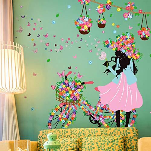 Caihuahua Habitación de dibujos animados niña dormitorio guardería fondo decorativo pared flores hada elfo bicicleta