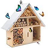 WORTH Hôtel d'insectes Respectueux de l'environnement Petite Maison pour Abeilles Papillons Cadeau Parfait pour les Amateurs d'insectes 31,3 x 9,3 x 27,3 cm