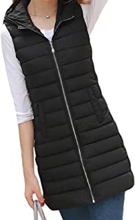 Women's Zipper Hooded Warm Slim Fit Sleeveless Coats Thicken Mid Lenght Down Vest Tops