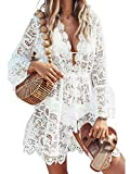 Women Sexy Bikini Cover Up Casual Hollow Out V-Neck Lace Floral Crochet Swimsuit Bathing Suit Tunic Short Beach Dress White