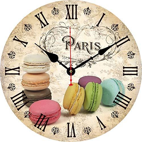 BERYART Reloj de pared decorativo de 14 pulgadas, funciona con pilas, silencioso, sin tictac, de cuarzo, redondo, de madera, para sala de estar, comedor, baño, cocina, dormitorio (galletas coloridas)