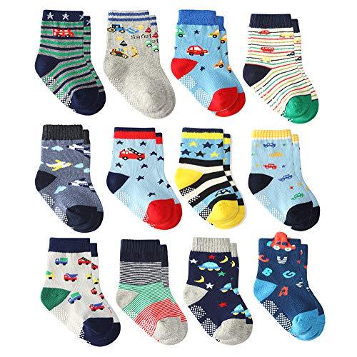 Wobon 12 Pares para Algodón Recién Nacido Infantil Niños Calcetines, Calcetines Antideslizantes para Bebé Niños (12 pares super estrella, 3-5 años)