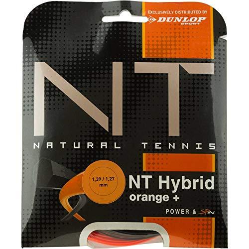 Dunlop Unisex– Erwachsene Tac NT Hybrid 1.39/1.27mm Tennissaiten, Schwarz/Orange, 1.39/1.27 mm